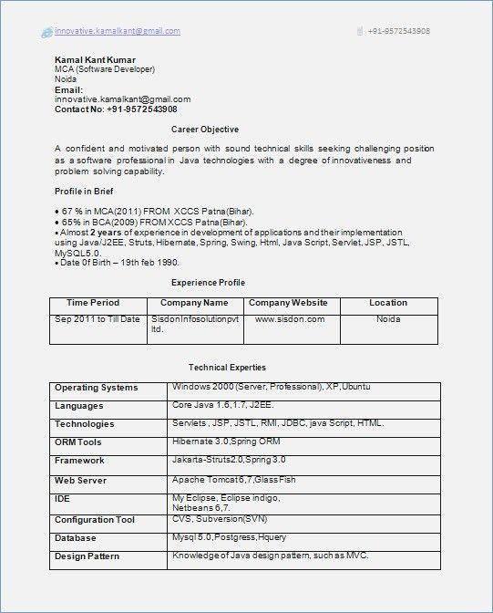 resume format for years experience in job samples templates sample software engineer Resume Sample Resume For Software Engineer With 1 Years Experience