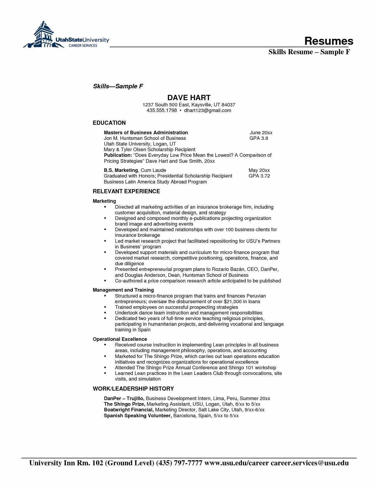resume format for years experience in operations skills section relevant hotel Resume Relevant Experience Resume