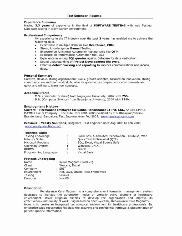 Resume Format For Years Experience In Testing Best Sample Software Samples Mortgage Cover Software Testing Resume Samples For 5 Years Experience Resume Senior Accountant Resume Summary Resume Categories Skills College Freshman Resume