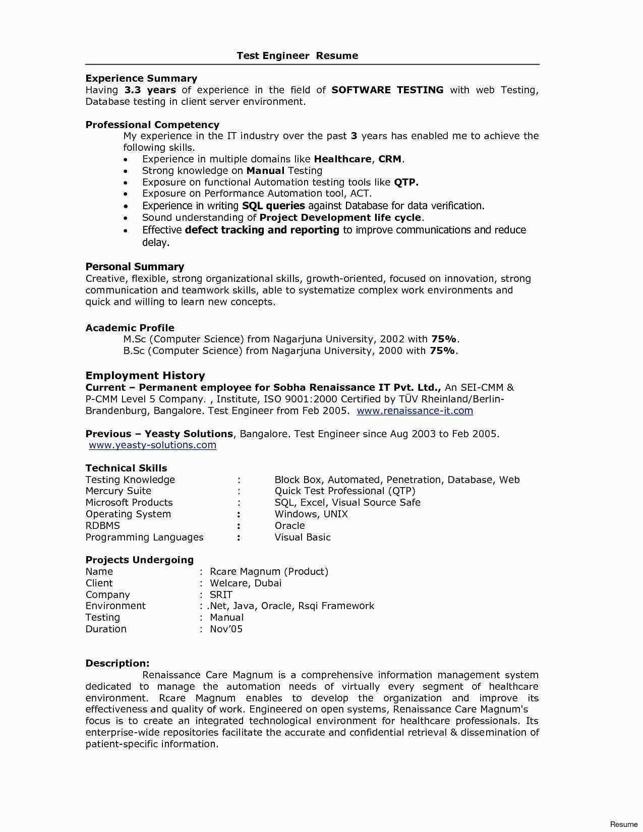resume format year experienced software engineer examples professional basic sample for Resume Sample Resume For Software Engineer With 1 Years Experience