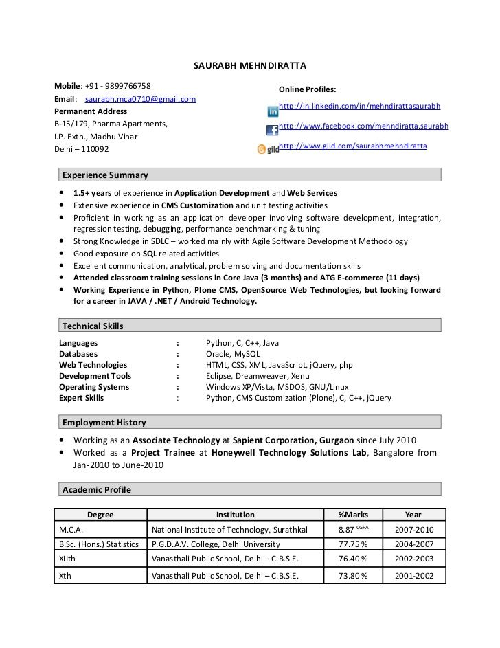 resume format year experienced software engineer examples sample for with years Resume Sample Resume For Software Engineer With 1 Years Experience