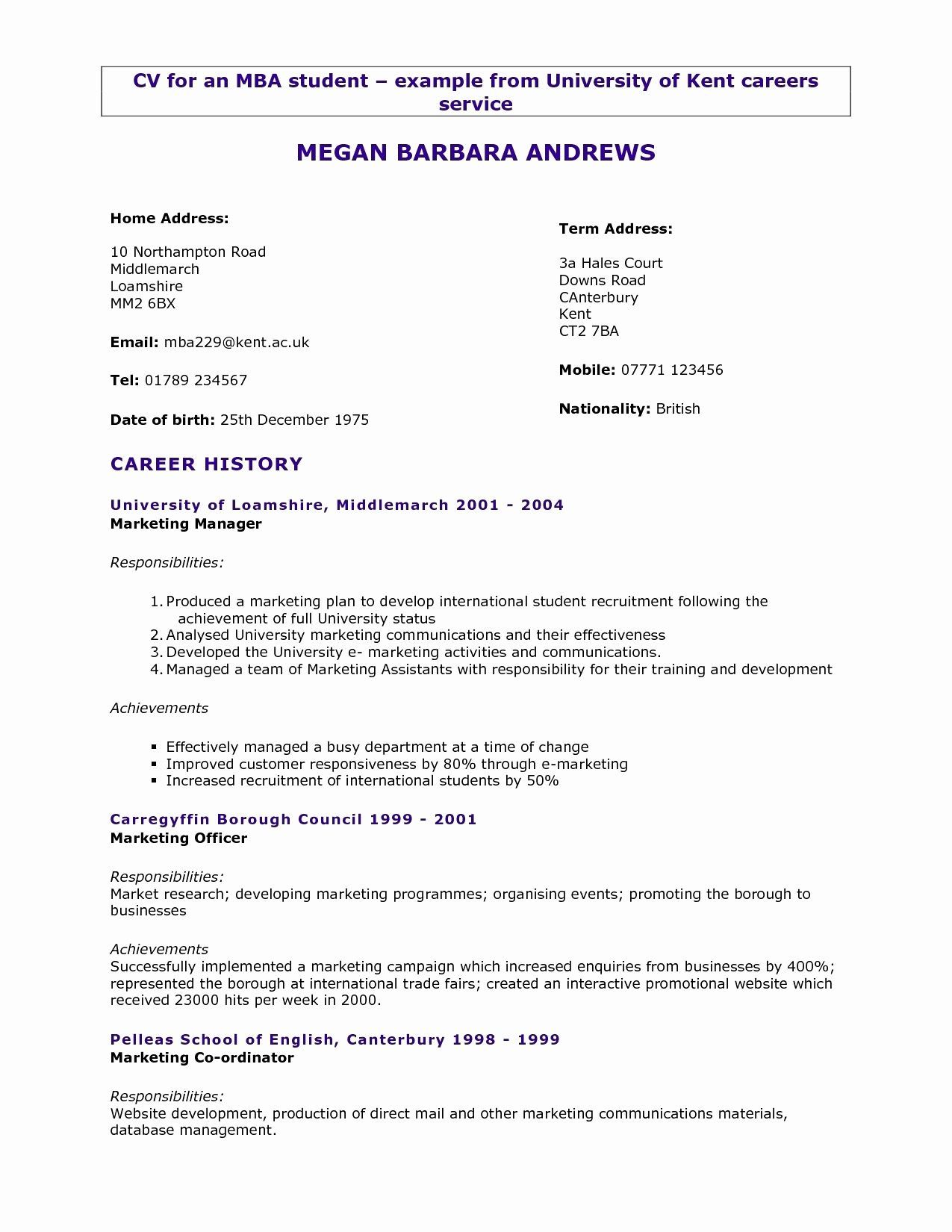 resume format years experience marketing student template first job after school program Resume Marketing Student Resume