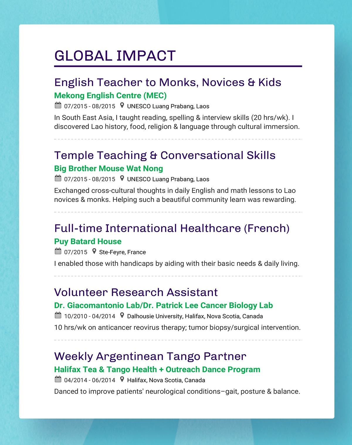 resume headings to stand out in with examples creative image8 create google docs credit Resume Creative Resume Headings