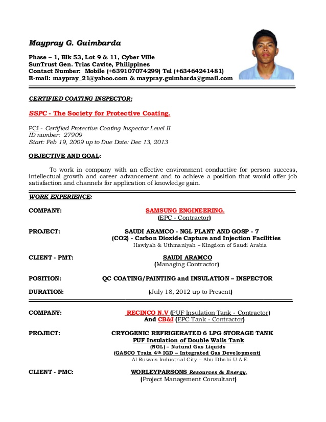 resume of qaqc inspector coating painting and insulation coatingpainting scholastic Resume Coating Inspector Resume