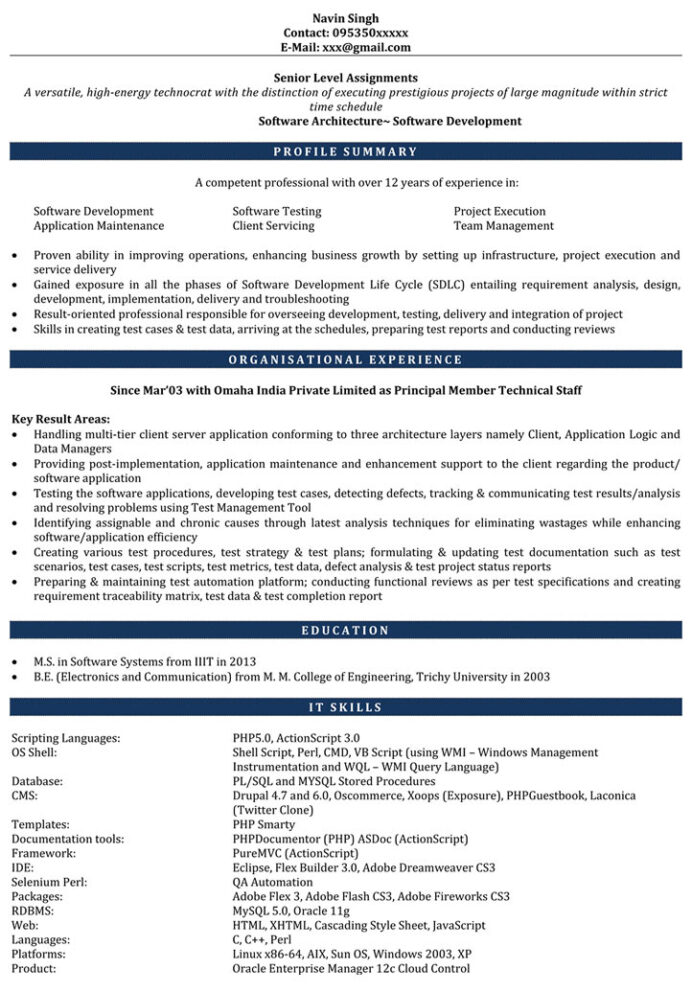 resume sample developer for naukri software engineer with years Resume Sample Resume For Software Engineer With 1 Years Experience
