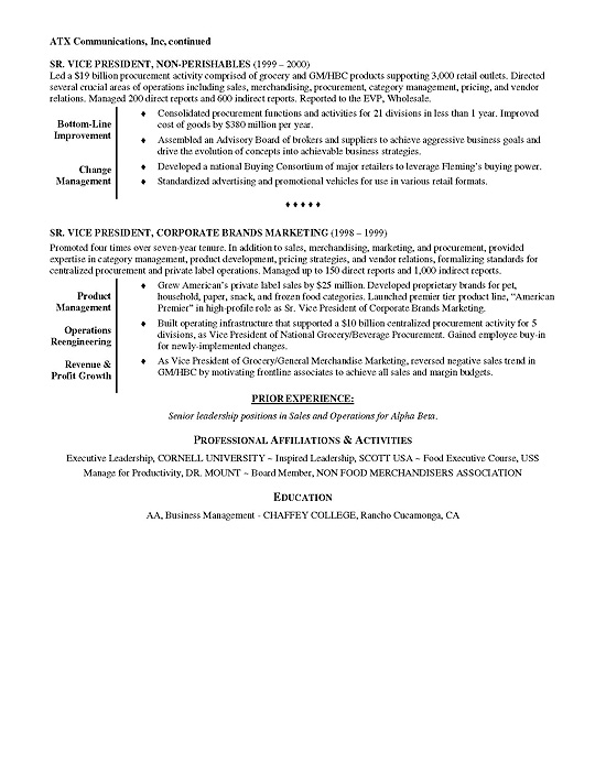 retail executive resume example professional summary for sample executive12b middle Resume Professional Summary For Retail Resume