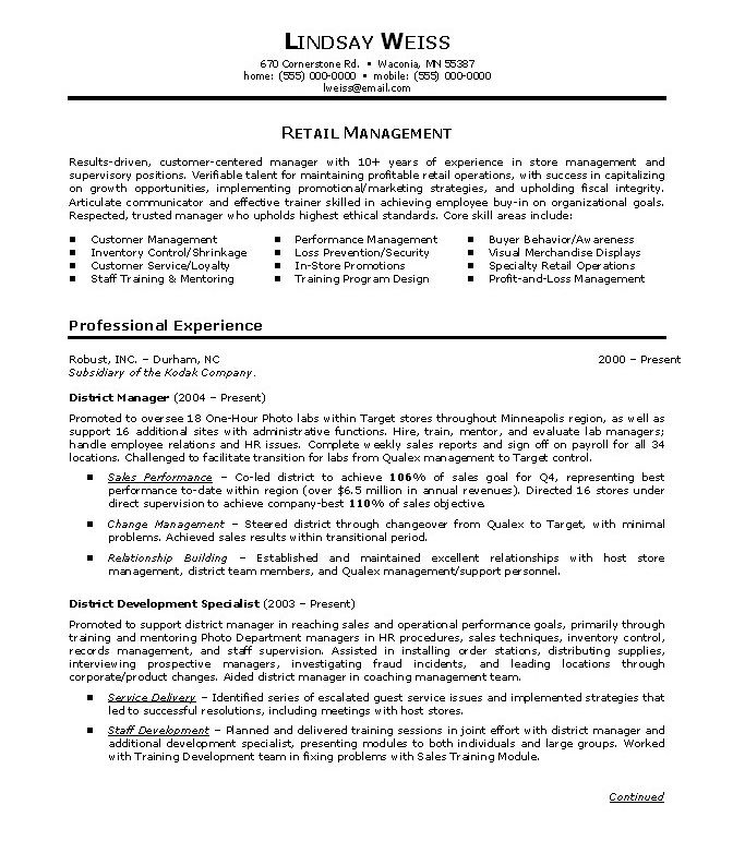 retail store manager resumes resume examples objective professional summary for best Resume Professional Summary For Retail Resume
