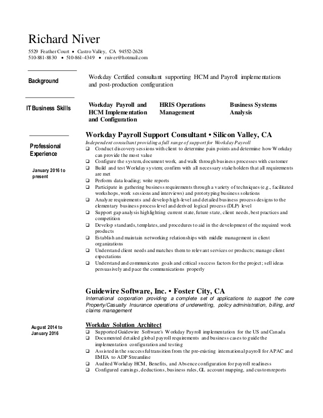 richard niver resume workday consultant dishwasher duties and responsibilities for entry Resume Workday Consultant Resume