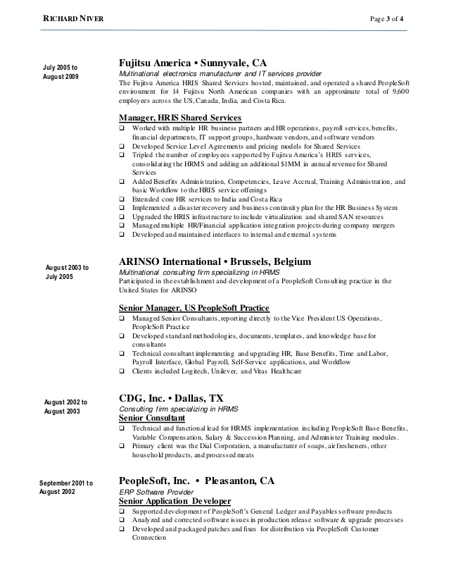 richard niver resume workday consultant sample for college graduate usajobs government Resume Workday Consultant Resume