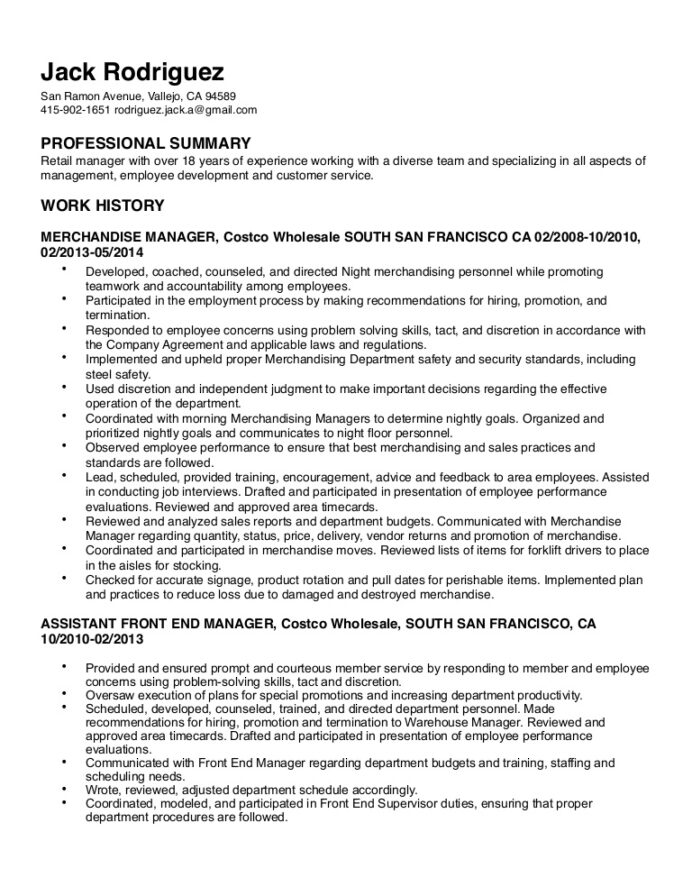 rodriguez resume costco front end assistant lva1 app6891 thumbnail career transition high Resume Costco Front End Assistant Resume