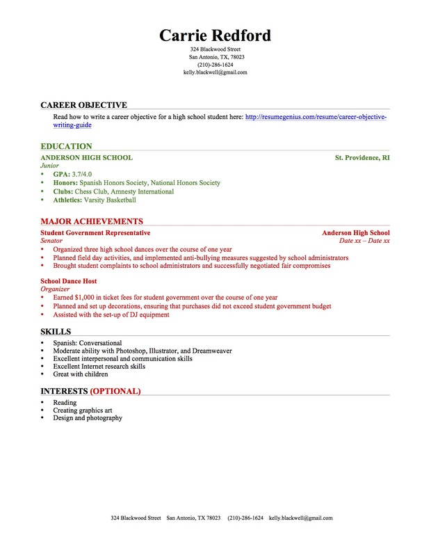 sample of student resume with no experience for highschool students little high school Resume Sample Resume For Highschool Students With Little Experience