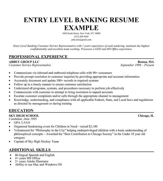 sample resume for banking and finance fresh graduate entry level by jobs ideal length Resume Entry Level Finance Resume