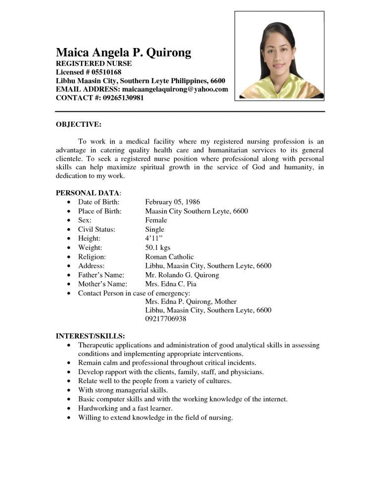 sample resume for fresh graduates with no experience new graduate format nursing template Resume Sample Resume For Fresh Graduate Without Work Experience