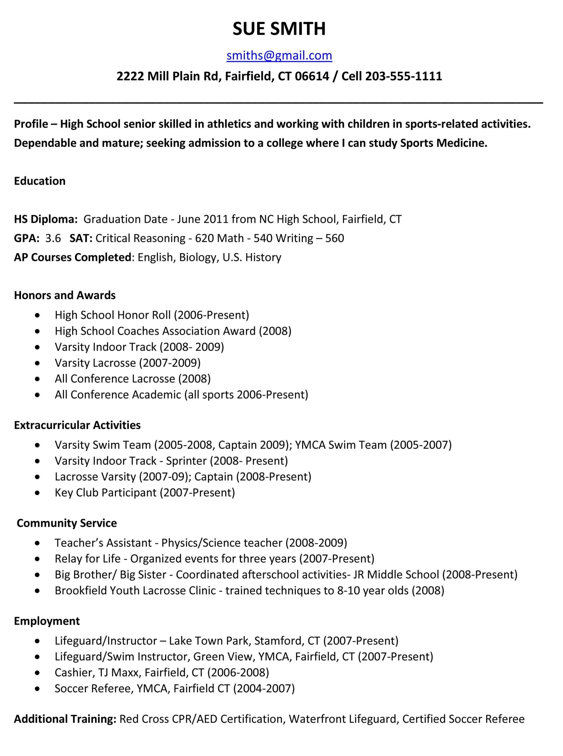 sample resumes high school resume template college application examples for Resume College Application Resume Examples For High School Seniors