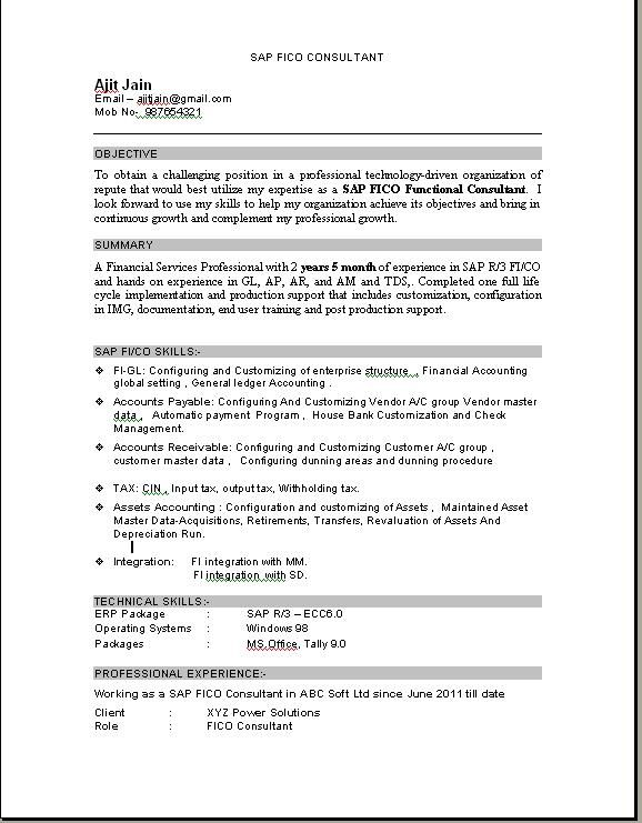 sap fico consultant resume education pdf sample for years experience computer knowledge Resume Sample Resume For Sap Fico Consultant 3 Years Experience
