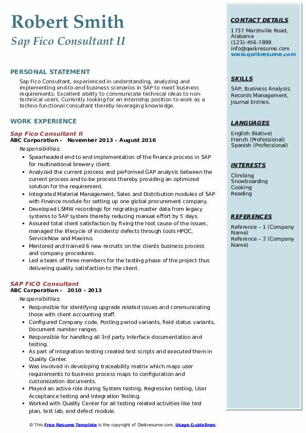 sap fico consultant resume samples qwikresume sample for years experience pdf mdc optimal Resume Sample Resume For Sap Fico Consultant 4 Years Experience
