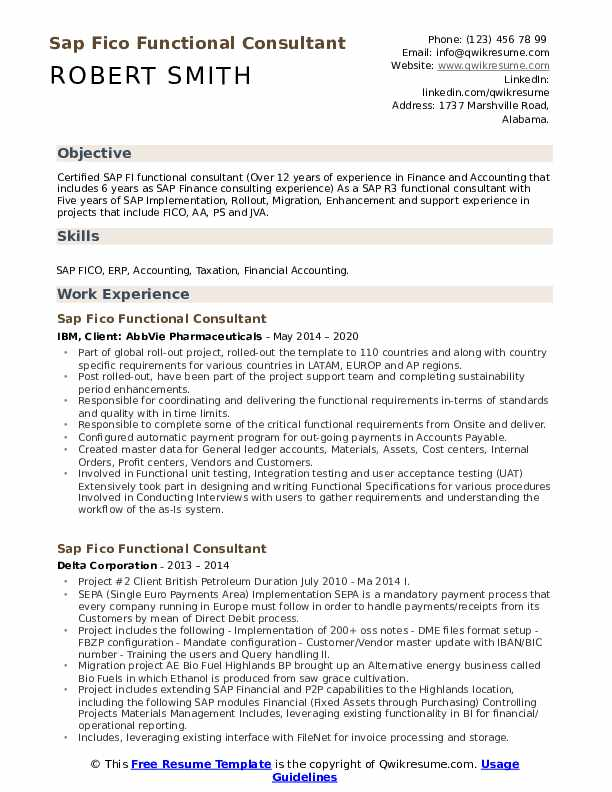 sap fico functional consultant resume samples qwikresume sample for years experience pdf Resume Sample Resume For Sap Fico Consultant 4 Years Experience