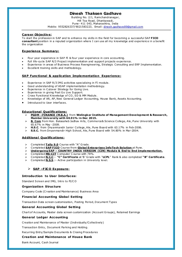 sap fico resume sample for consultant years experience good declaration professional Resume Sample Resume For Sap Fico Consultant 3 Years Experience