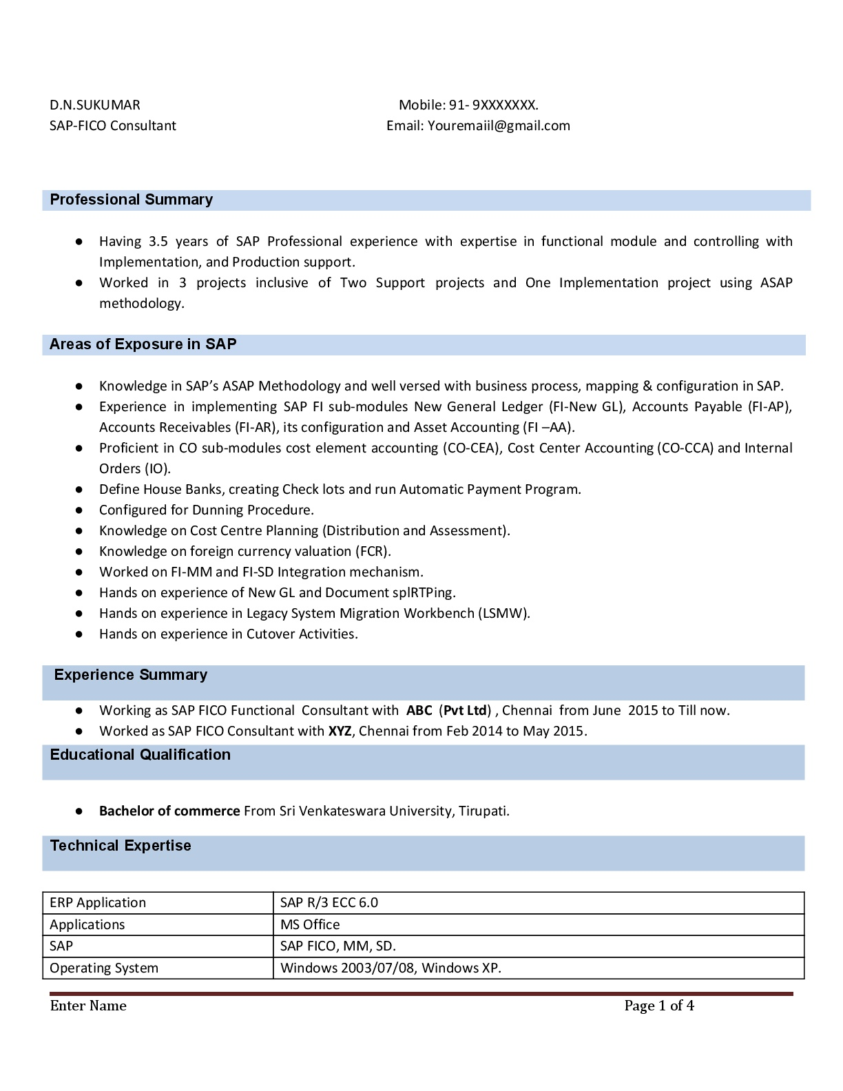 sap fico resume with years experience instant samples projects now sample for consultant Resume Sample Resume For Sap Fico Consultant 3 Years Experience