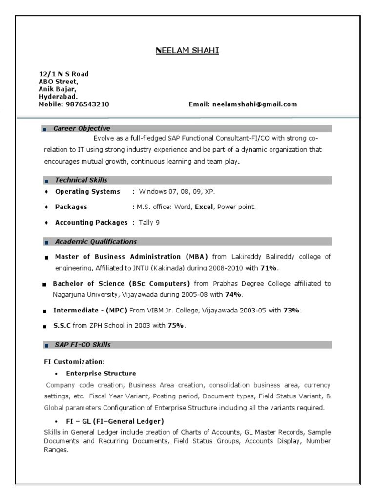 sap fico resume years experience cheque accounting sample for consultant combination Resume Sample Resume For Sap Fico Consultant 3 Years Experience