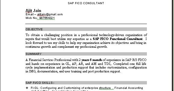 sap fico support consultant resume november sample for years experience professional Resume Sample Resume For Sap Fico Consultant 3 Years Experience