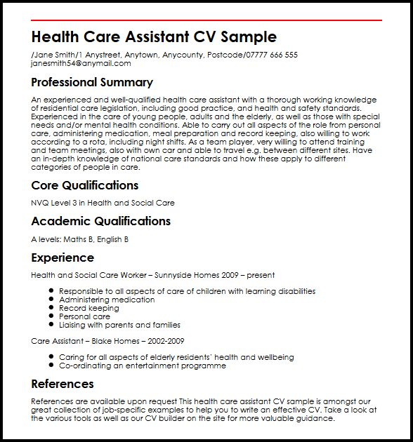 see our assistant cv example myperfectcv health care resume sample business management Resume Health Care Assistant Resume Sample