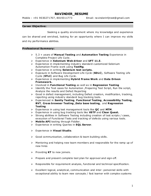 selenium resume automation testing for years experience sample format interview template Resume Selenium Automation Testing Resume For 5 Years Experience