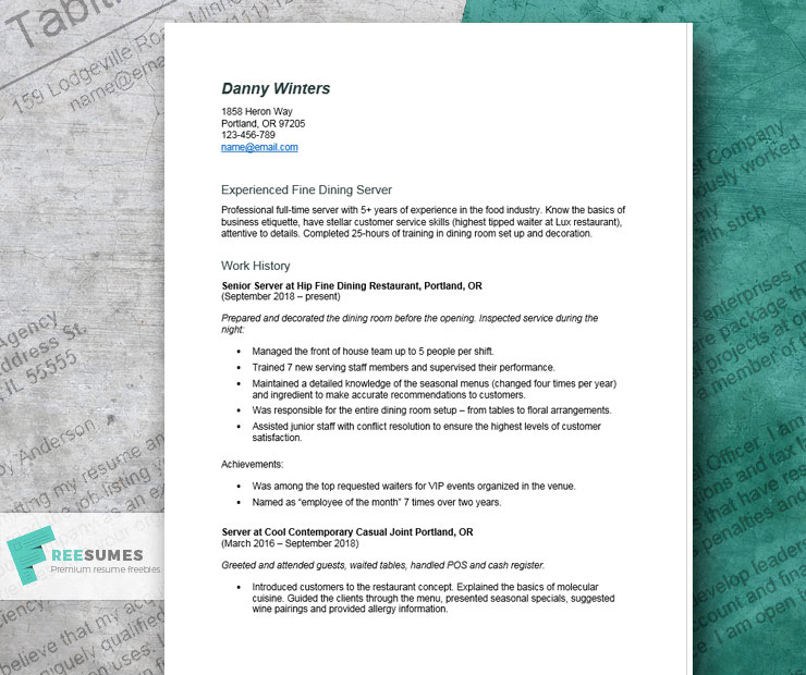 server resume example tips and tricks for writing the best freesumes restaurant waitress Resume Resume For Restaurant Waitress