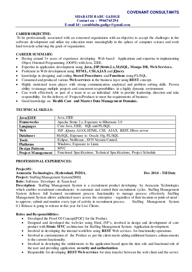 sharath technical lead resume development validation examples functional vs chronological Resume Development Lead Resume