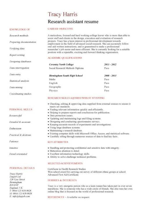 student entry level research assistant resume template experience pic objective words for Resume Research Experience Resume