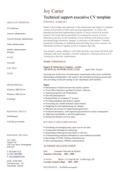 technical support executive cv sample to write eye catching jobs resume pic template Resume Technical Executive Resume