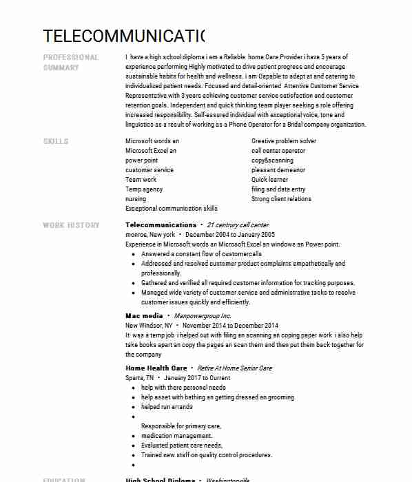 telecommunications resume example livecareer keywords workabroad edit special needs Resume Telecommunications Resume Keywords