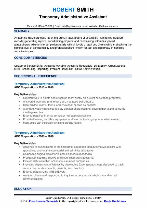 temporary administrative assistant resume samples qwikresume template microsoft word free Resume Administrative Assistant Resume Template Microsoft Word Free