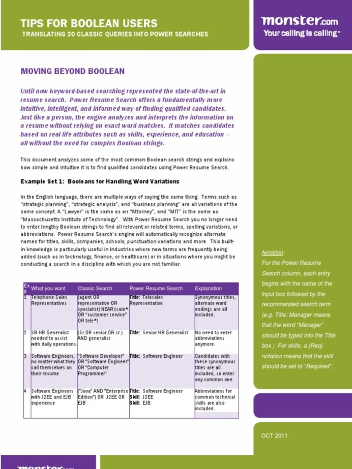 tips for boolean users résumé personal trainer monster classic resume search Resume Monster Classic Resume Search