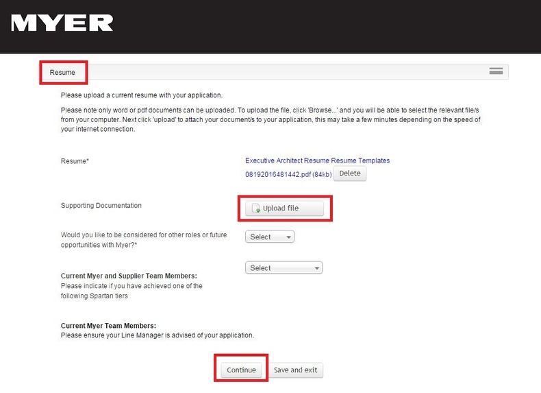 to apply for myer jobs at au careers please upload your resume step skills and abilities Resume Please Upload Your Resume