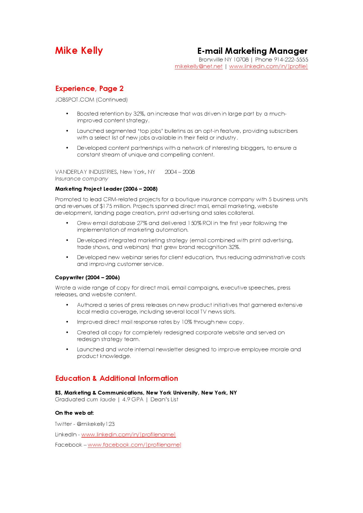 to write an email marketing resume sample that hrs choose listing webinars on manager Resume Listing Webinars On Resume