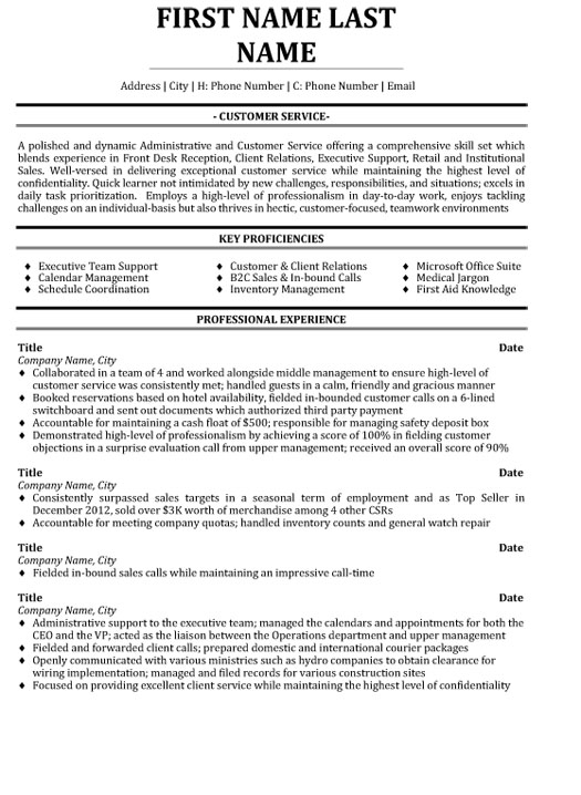 top customer service resume templates samples format for experienced executive sample Resume Resume Format For Experienced Customer Service Executive