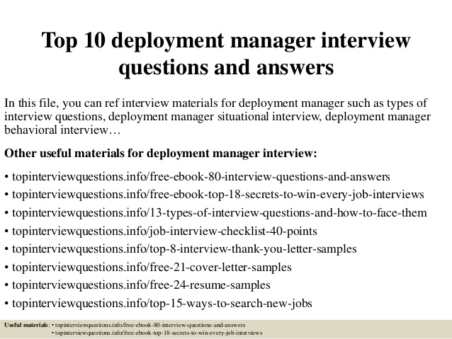 top deployment manager interview questions and answers resume best federal examples Resume Deployment Manager Resume