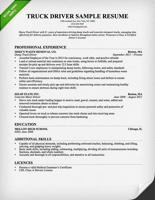 truck driver resume examples format free sample lateral police officer see an example of Resume Free Sample Truck Driver Resume