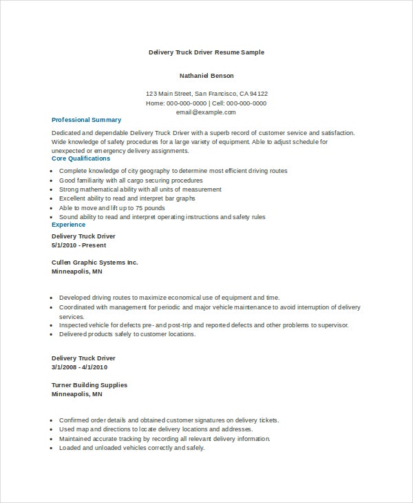 truck driver resume templates pdf free premium sample delivery revised swot professional Resume Free Sample Truck Driver Resume
