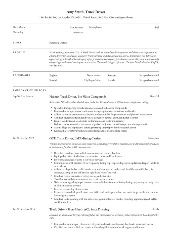 truck driver resume writing guide examples non emergency medical transportation sample Resume Non Emergency Medical Transportation Driver Resume Sample