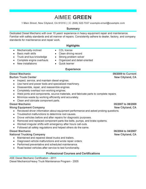 unforgettable diesel mechanic resume examples to stand out myperfectresume heavy Resume Heavy Equipment Mechanic Resume Sample