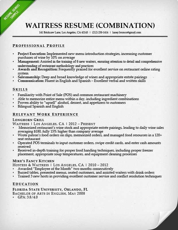 waiter resume professional waitress with regard to restaurant skills examples for retail Resume Resume For Restaurant Waitress