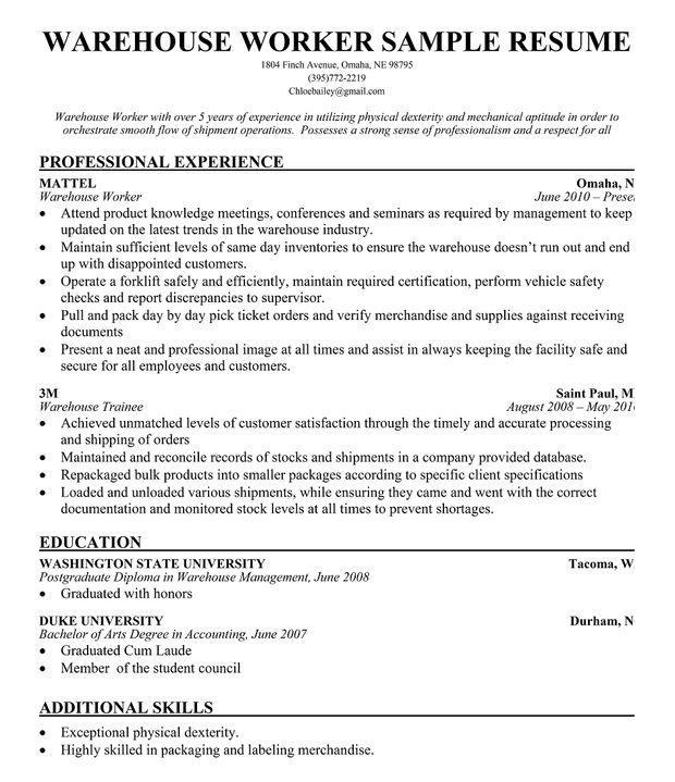 warehouse resume and logistics writing tips worker sample examples chiropractic assistant Resume Warehouse Resume Sample Examples