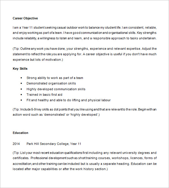 writing resume for highschool student sample resumes and templates high school example Resume High School Student Resume Example For College Application