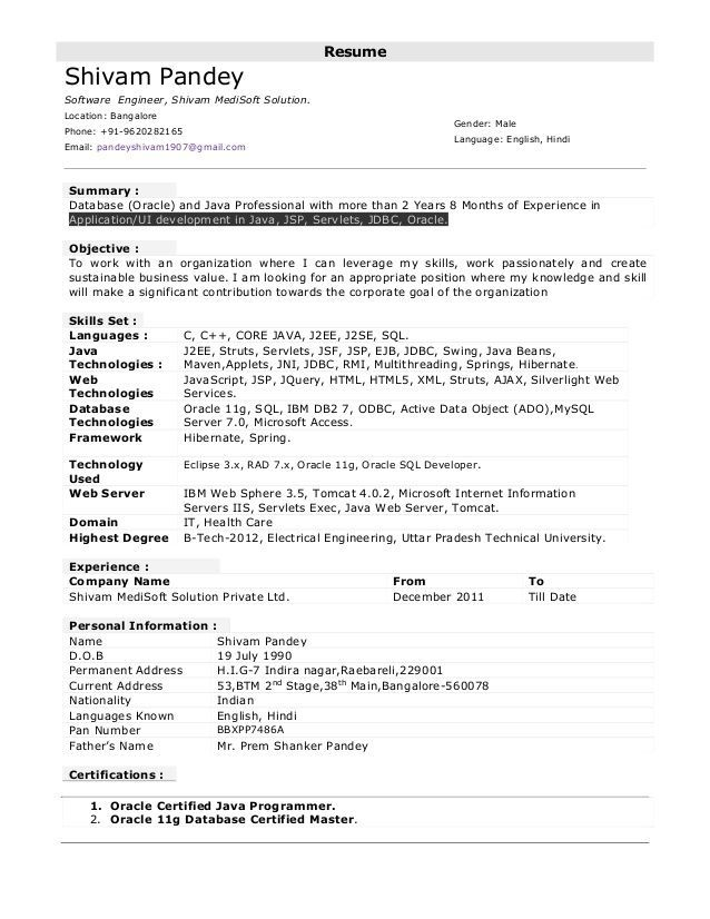 years experience resume format sample examples for software engineer Resume Sample Resume For Software Engineer With 1 Years Experience