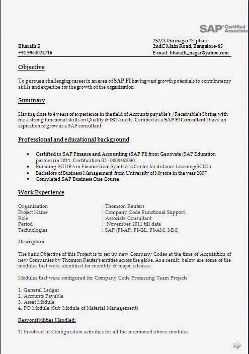 years experience resume format sample templates best essay writing service for sap fico Resume Sample Resume For Sap Fico Consultant 4 Years Experience