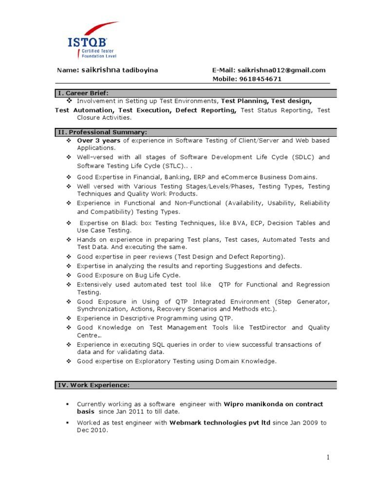 years testing experience resume format software job samples for starbucks claims special Resume Software Testing Resume Samples For 5 Years Experience