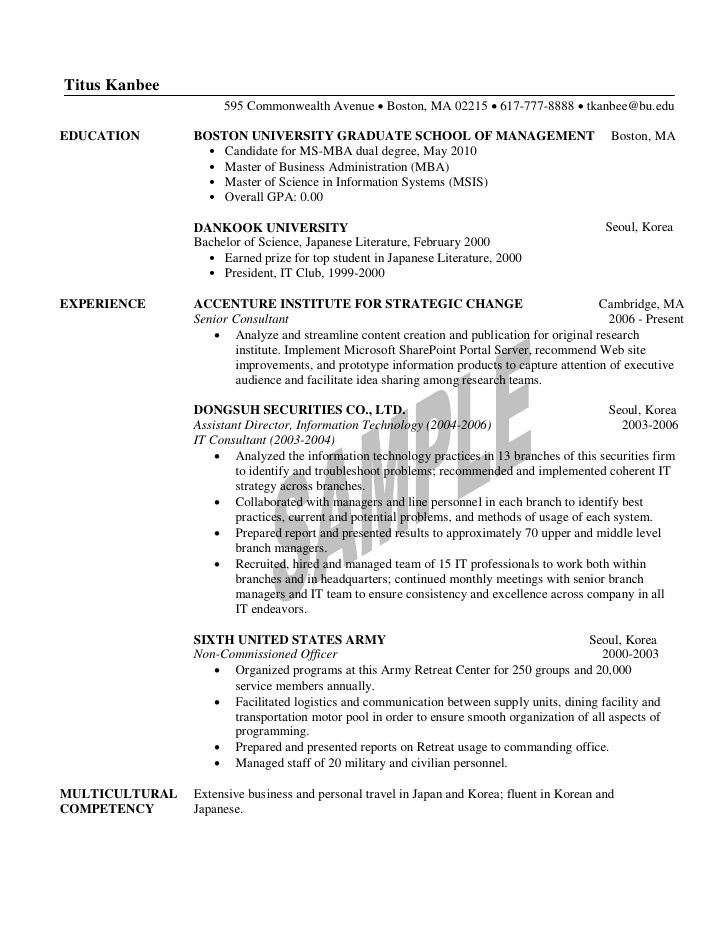 1st year mba resume sample format for admission truck driver retail worker buyer Resume Resume Format For Mba Admission