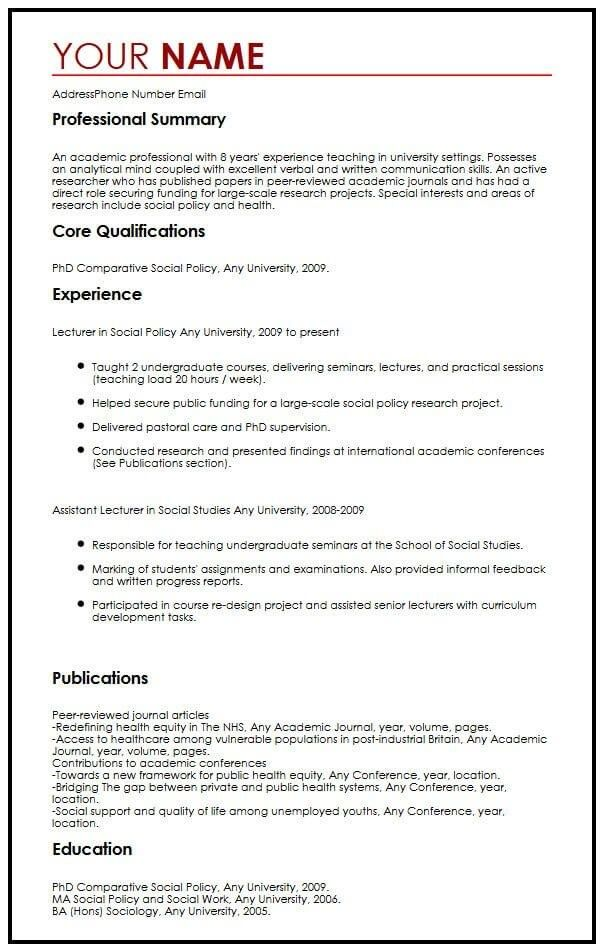 academic cv example myperfectcv in examples teacher resume template lecturer experience Resume Lecturer Experience Resume